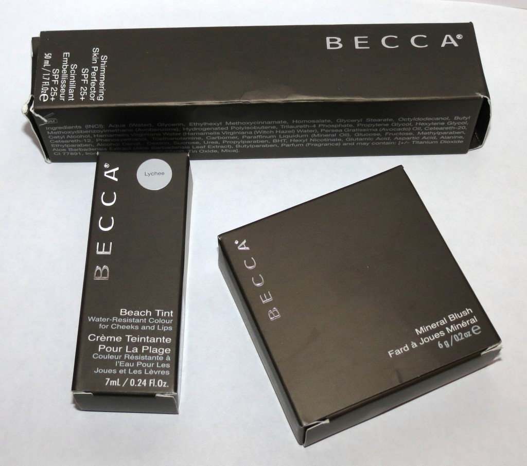 BECCA Moonstone Shimmering Skin Perfector SPF 25+, Lychee Beach Tint, Songbird Mineral Blush Swatches & Review