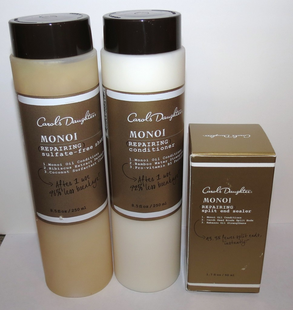 Carol's Daughter Monoi Repairing Shampoo, Conditioner and Split End Sealer Photos & Review