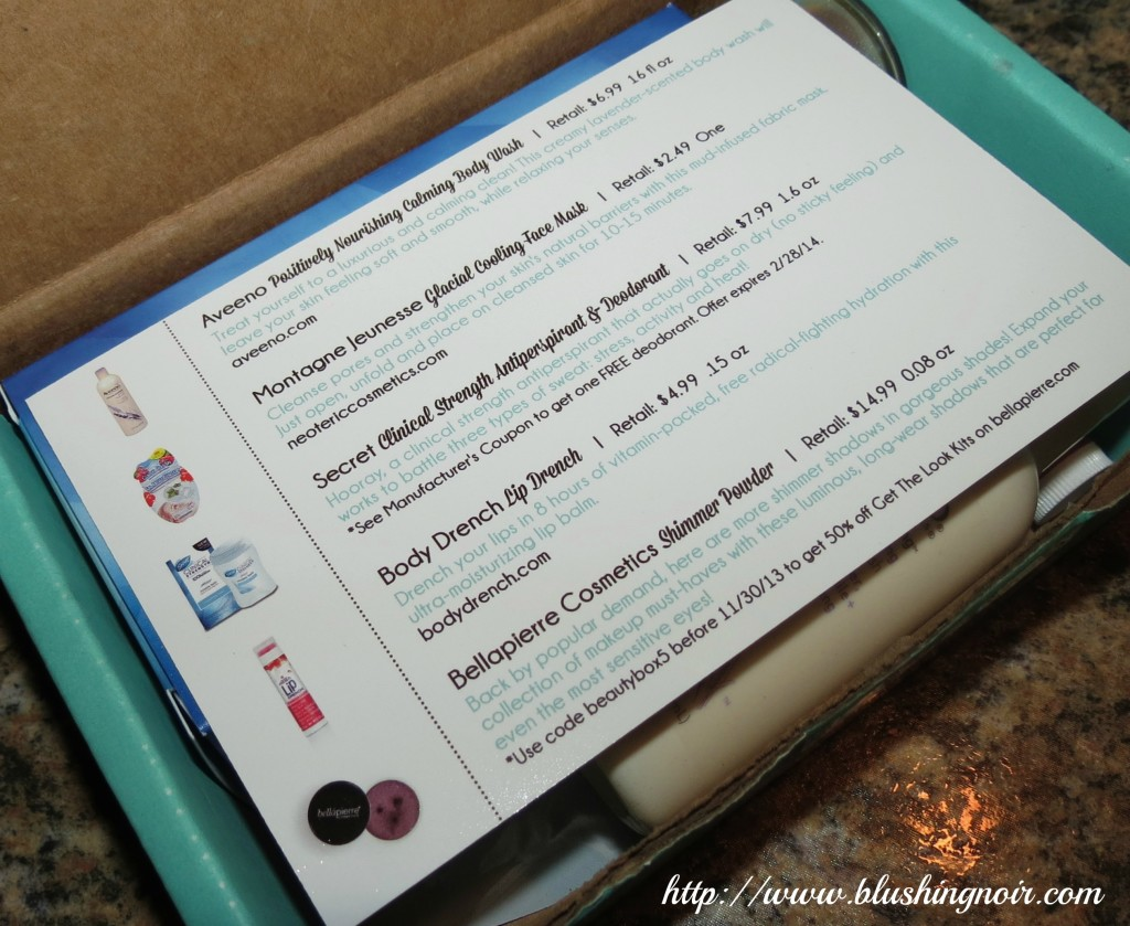 Beauty Box 5 November 2013 List