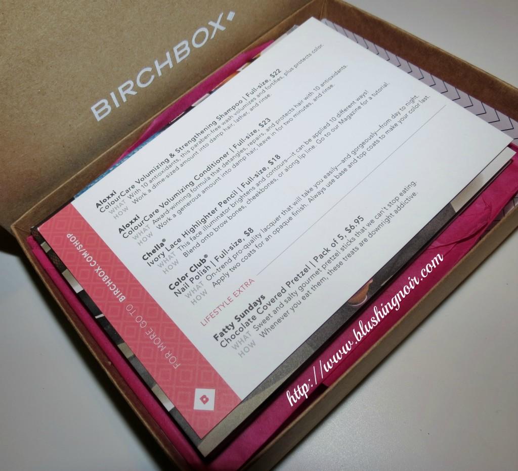 november 2013 Birchbox contents