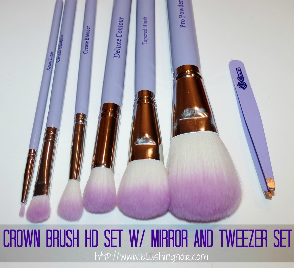 Crown Brush HD Set w Mirror and Tweezer Set