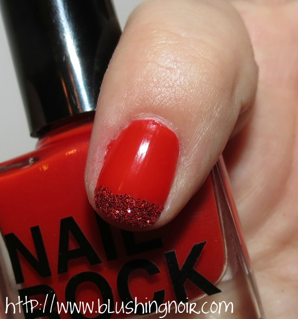 Nail Rock Red Glitter Dust Swatches