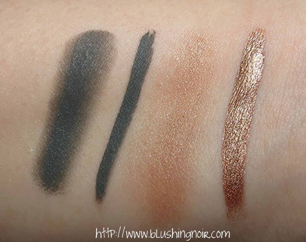 Laura Mercier Graphite Creme Eye Liner & Copper Sunrise Metallic Creme Eye Colour Swatches
