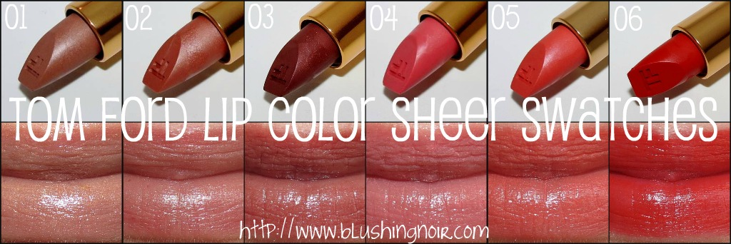 Tom Ford Lip Color Sheer Swatches