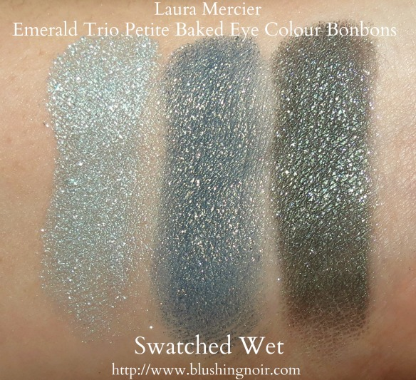 Laura Mercier Emerald Trio Petite Baked Eye Colour Bonbons Swatches wet