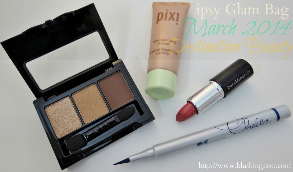 March 2014 ipsy Glam Bag Destination Beauty swatches review