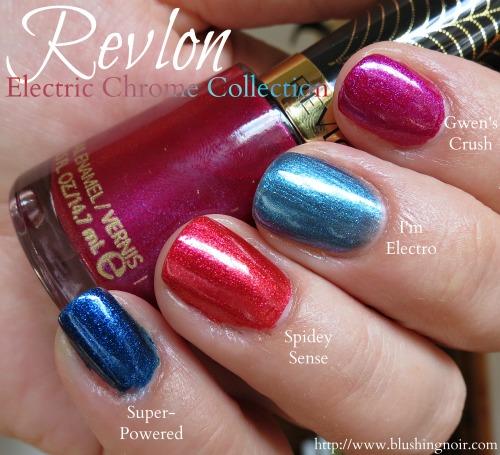 Revlon Gwens Crush I'm Electro Spidey Sense Super-Powered Nail Polish Swatches Electric Chrome shade
