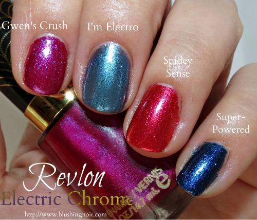 Revlon Gwens Crush I'm Electro Spidey Sense Super-Powered Nail Polish Swatches Electric Chrome