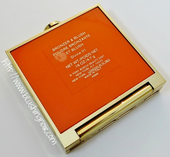 Tory Burch 01 DIVINE Bronzer Blush Highlighter Palette Orange Case back