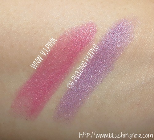 Wet N Wild V.I.Pink CoverGirl Blazing Purple Swatches