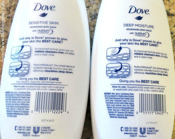 Dove Nourishing Body Wash ingredients
