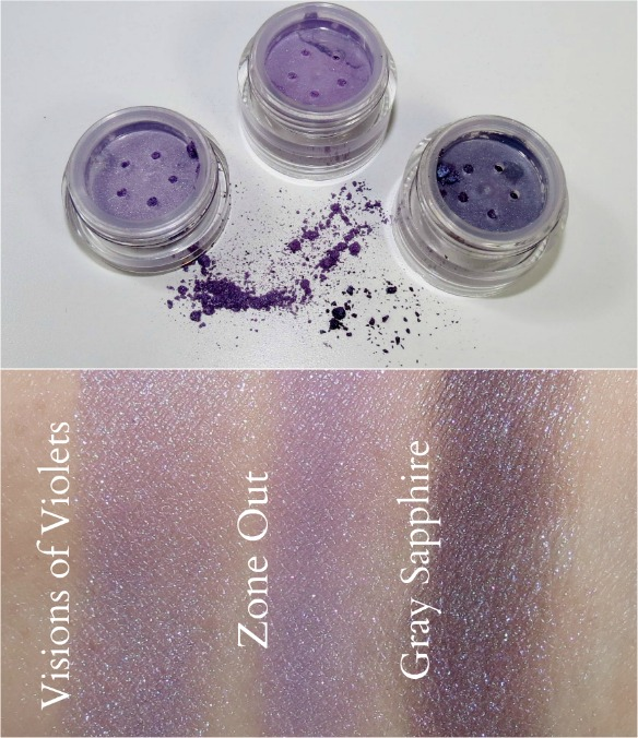 Overall Beauty Minerals Visions of Love, Zone Out, Gray Sapphire Swatches