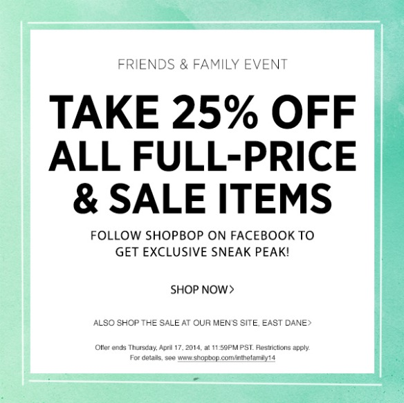 Shopbop Friends & Family Sale Preview