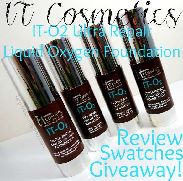 IT Cosmetics IT-O2 Ultra Repair Liquid Oxygen Foundation Swatches Review Giveaway