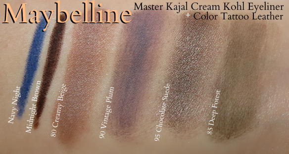 Maybelline Master Kajal Color Tattoo Leather swatches