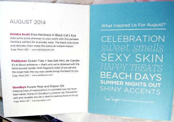 August 2014 POPSUGAR Must Have Box contents