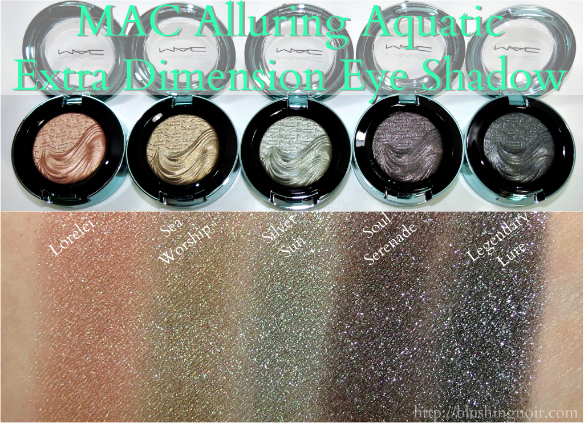 MAC Alluring Aquatic Extra Dimension Eye Shadow Swatches