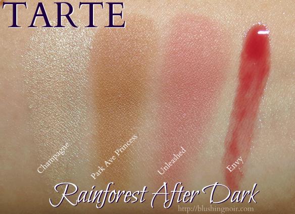 Tarte Rainforest After Dark Palette Swatches 2