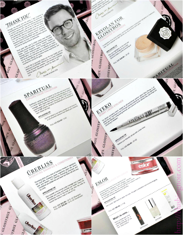 August 2014 Glossybox contents