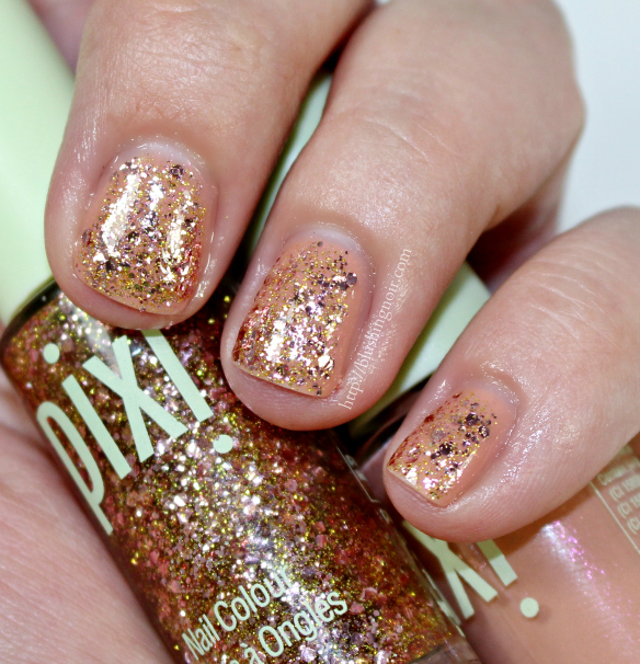 PIXI Beauty Crystal Champagne Almond Glow Nail Colour Swatches