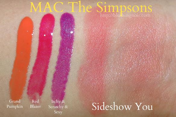 MAC The Simpsons Lipglass Powder Blush Swatches #MACxMarge