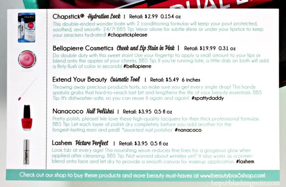 October 2014 Beauty Box 5 Contents