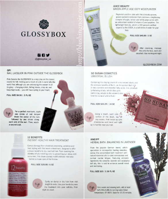 Glossybox November 2014 contents