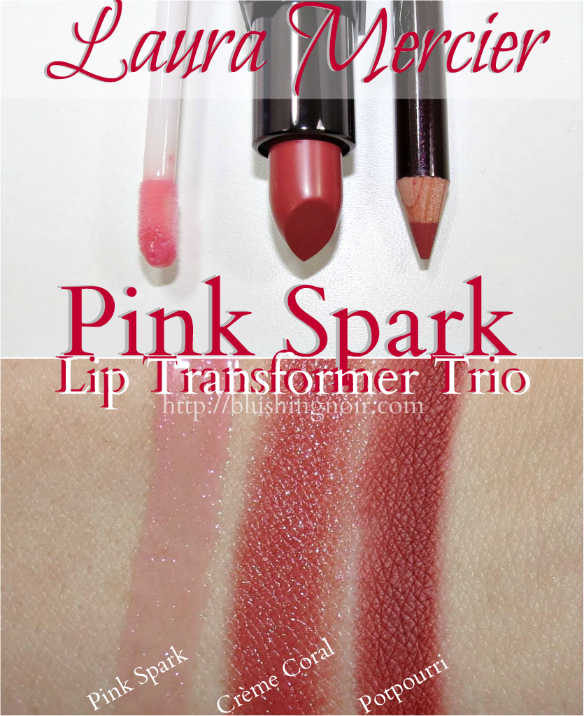 Laura Mercier Pink Spark Lip Transformer Trio Swatches