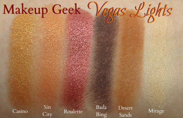 Makeup Geek Vegas Lights Eyeshadow Palette Swatches