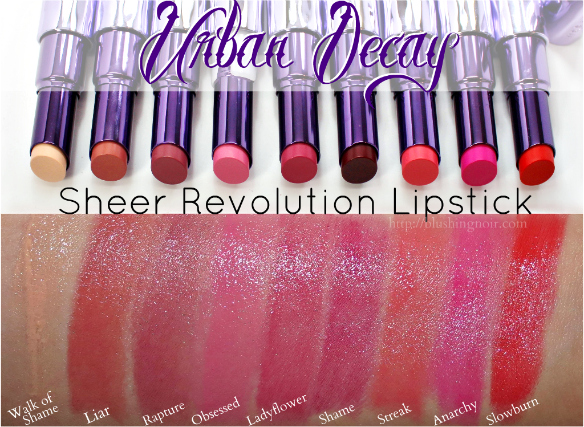 Urban Decay Sheer Revolution Lipstick Swatches