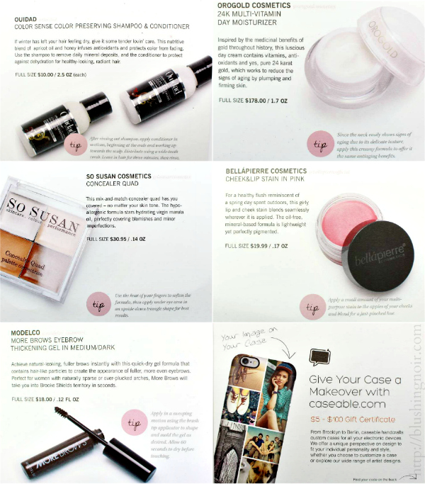 Glossybox USA March 2015 contents