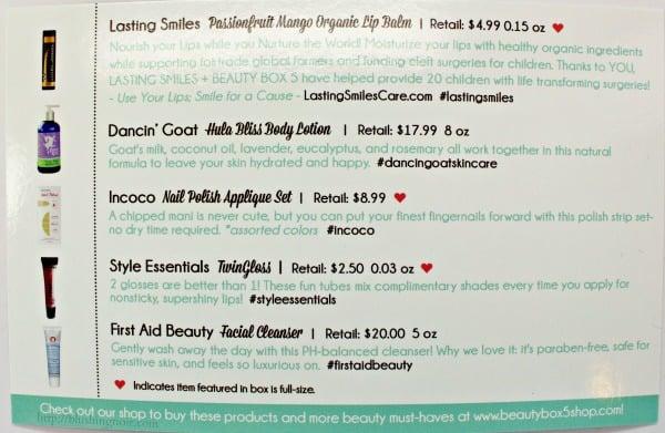 April 2015 Beauty Box 5 Contents