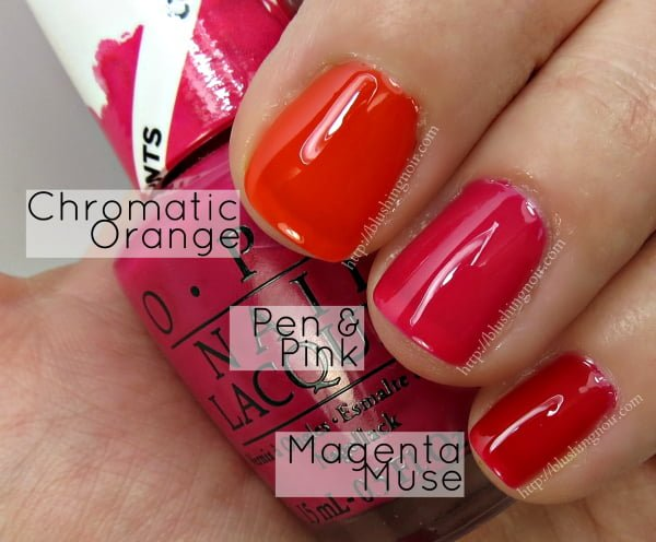OPI Color Paints Swatches Chromatic Orange Pen Pink Magenta Muse