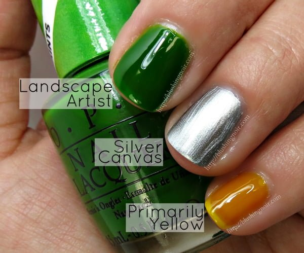 OPI Color Paints Swatches Landscape Artist Silver Canvas Primarily Yellow
