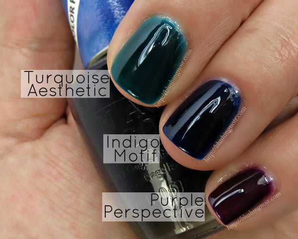 OPI Color Paints Swatches Turquoise Aesthetic Indigo Motif Purple Perspective