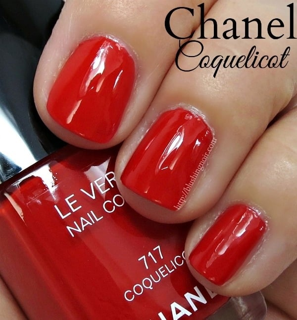 Chanel Coquelicot Nail Polish Swatches