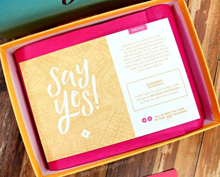 Birchbox June 2015 Say Yes