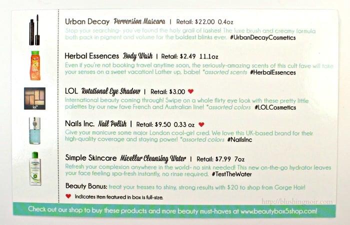 June 2015 Beauty Box 5 contents
