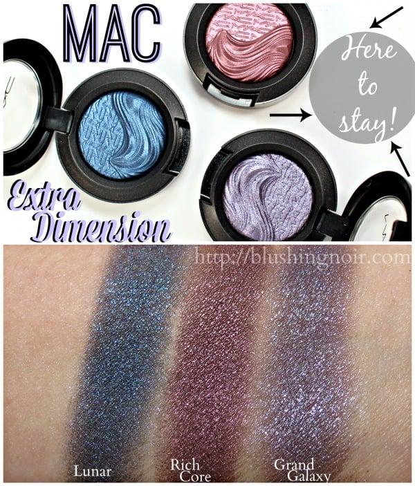 MAC Extra Dimension Eye Shadow Swatches