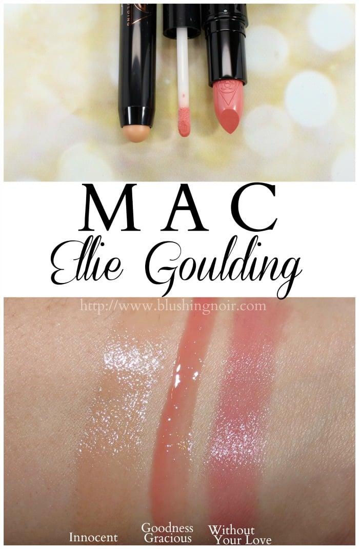 MAC Ellie Goulding lipstick plushglass lip swatches