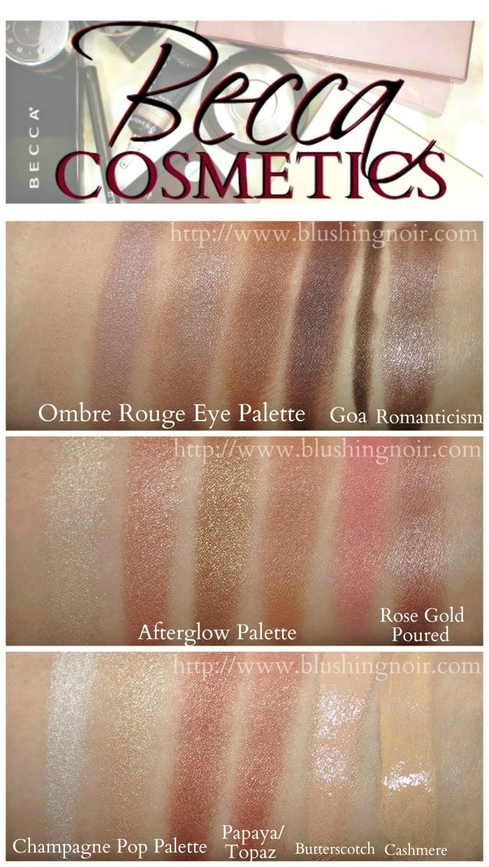 Becca Cosmetics Ombre Rouge afterglow swatches review
