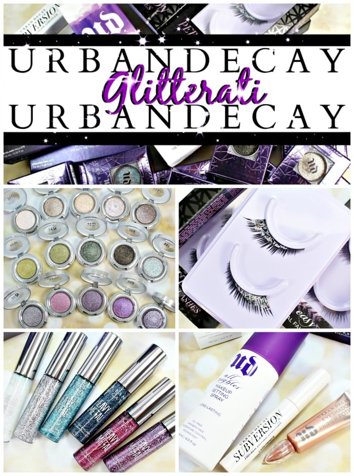 Urban Decay Glitterati lashes moondust glitter liner swatches review