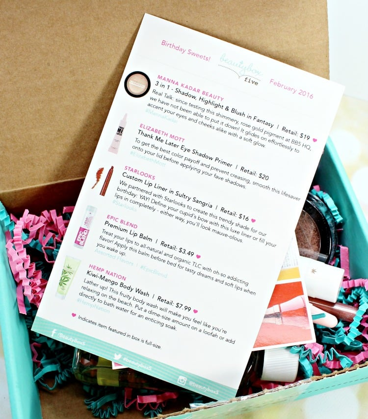 Beauty Box 5 February 2016 What's inside open box review
