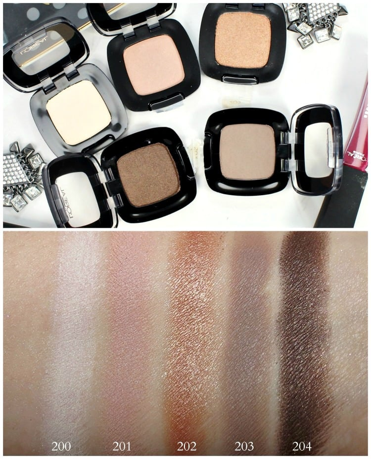 L'Oreal Colour Riche Eye Shadow Swatches 200 201 202 203 204