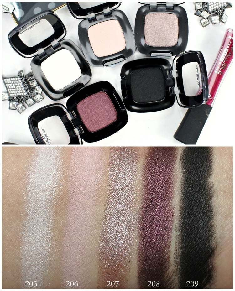L'Oreal Colour Riche Eye Shadow Swatches 205 206 207 208 209