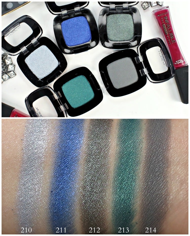L'Oreal Colour Riche Eye Shadow Swatches 210 211 212 213 214