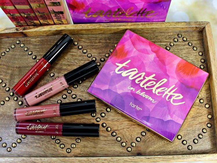Tarte Tartelette In Bloom Eyeshadow Palette Lip Paint review photos swatches