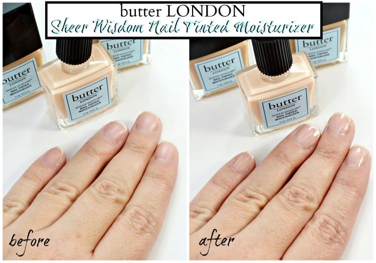 butter LONDON Sheer Wisdom Nail Tinted Moisturizer before and after swatches review