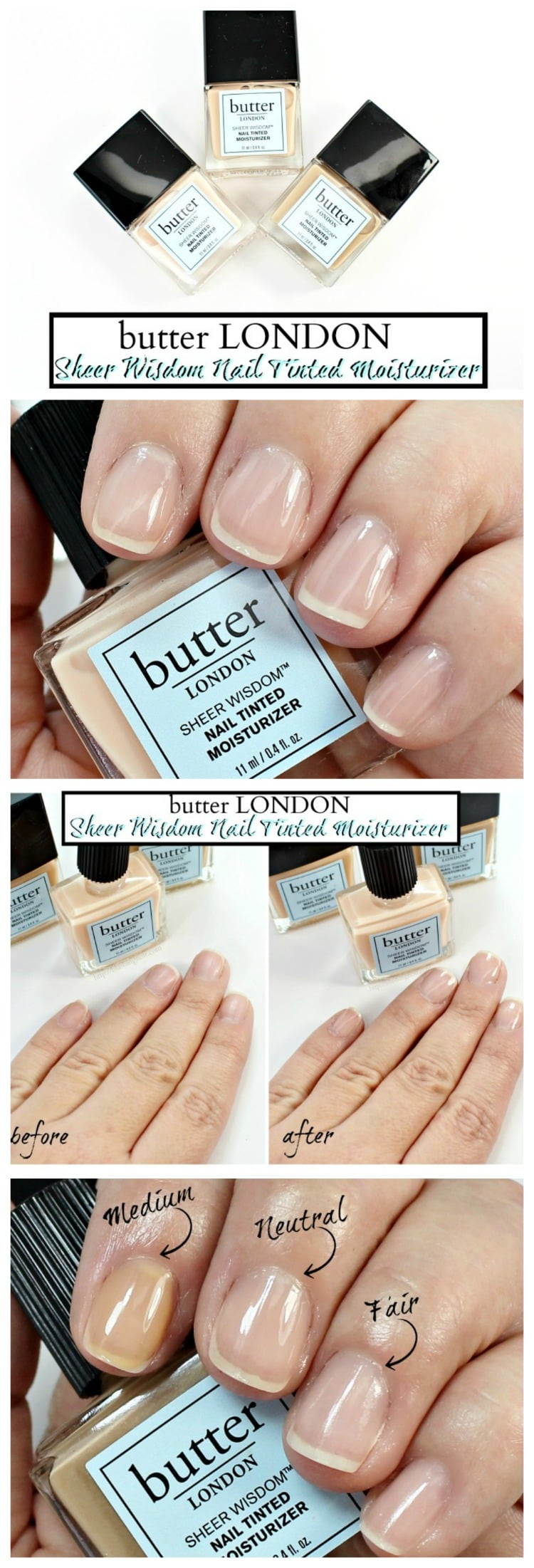 butter LONDON Sheer Wisdom Nail Tinted Moisturizer swatches review photos how to