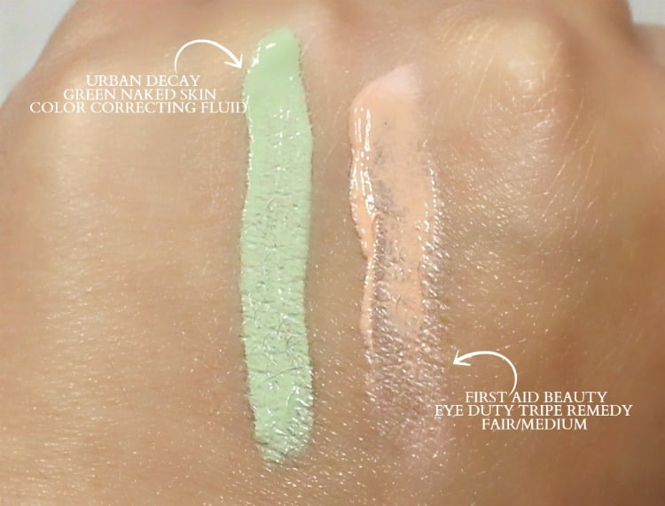 Urban Decay color correcting swatches first aid beauty